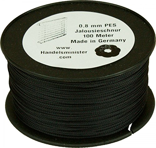 Handelsminister.com Jalousieschnur Plisseeschnur 100m Zugschnur für Plissee Raffrollo Jalousie Ersatzschnur, Farbe:schwarz, Durchmesser:0.8mm