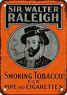 3Gold iron Painting 8X12 INCH 1937 Sir Walter Raleigh Tobacco Vintage Look Reproduction Metal Tin Sign