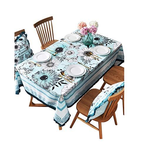 Rechthoekig, waterdicht tafelkleed, afwasbaar, velours, tafelkleed, avondeten, picknick, decoratie van het huis, robuuste druk, roze 140cm*200cm B
