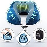 SilverRack Memory Foam Reise Nackenkissen (blau) als Nackenhörnchen - Flugzeug Kissen für erholsames und entspanntes Reisen - Praktisches Travel Pillow Reisekissen für Kinder und Erwachsene - 2