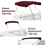 SavvyCraft Bimini TOP Boat Cover Canvas Fabric Burgundy 3 Bow 72' L 54' H 61'-66' W