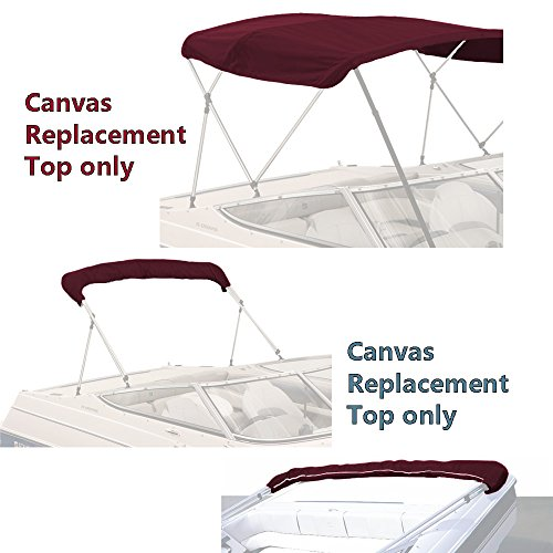 SavvyCraft Bimini TOP Boat Cover Canvas Fabric Burgundy 3 Bow 72