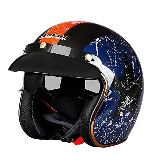 Open Face Lustroso Motorcycle Helmet,Adults Retro Half Helmet 3/4 Crash Helmet with Sun Visor,ECE Approved for Men Women Moped Scooter Street Motorbike Pilot Chopper Cruiser D,M=54~55cm
