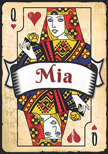 Mia: Taccuino A5   Nome personalizzato Mia   Regalo di compleanno per moglie, mamma, sorella, figlia ...   Design: carte da gioco   120 pagine a righe, piccolo formato A5 (14.8 x 21 cm)