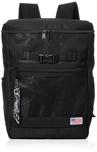 [ラーキンス] キューブバックパック リュック LKLA-02 20L メッシュポケット 大容量 ブラック×ブラック One Size