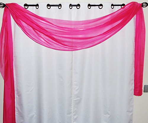 Gorgeous Home 1 Solid Decorative Hot Pink Elegant Scarf Valance Sheer Voile Window Panel Curtain 216' Long Swag Topper
