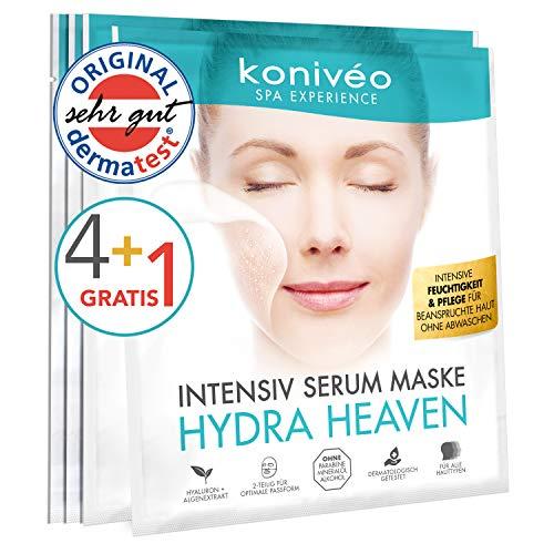 Hyaluron Tuchmaske – Hochdosierte Gesichtsmaske - Feuchtigkeit Gesicht Maske Vliesmaske von konivéo 4 + 1 Stück