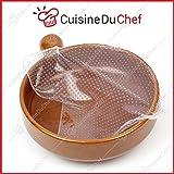 CuisineDuChef  Film étirable en Silicone Alimentaire | Lot de 4 | Réutilisables et Extensibles |...