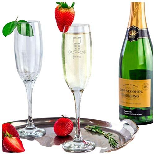 Be-Creative Copa de champán de Navidad con grabado personalizable, regalo de copa de champán Prosseco (estilo 5)