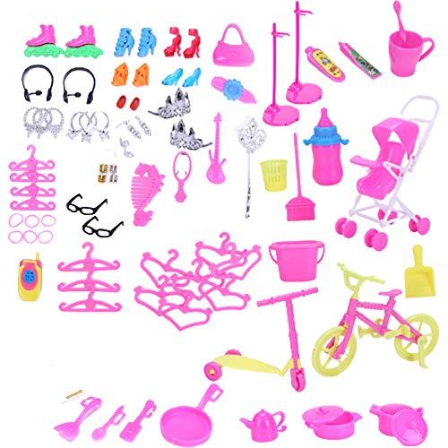 Ropa vestido de fiesta trajes de muñeca accesorios para vestidos de tacón alto, bolsas de collar, gafas, pendientes, accesorios para niñas, niños, fiestas, regalos de cumpleaños