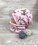 Beanie und Loop Set Pferde rosa, Jersey Fleece Gr 40-54 Beanie rosa kindermütze, mützen set Mädchen