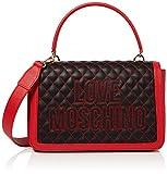Love Moschino Damen Borsa Pu Henkeltasche, Schwarz (Nero/Rosso), 25x25x9 centimeters