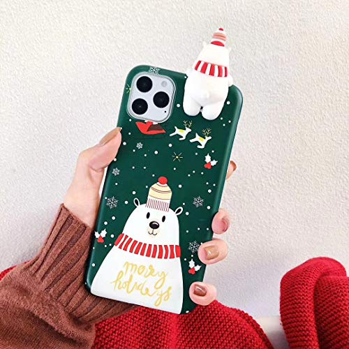 Topwin Christmas Case for iPhone 11, Merry Christmas Soft Silicone TPU 3D Cute Snowman Santa/Elk Pattern Pretty Cute Premium Flexible Protective Case Gifts for Apple iPhone 11 6.1'' 2019 (Green)