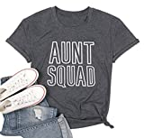 Aunt Squad T Shirt Auntie Shirts Women Aunt Gift Top Shirt Letter Print Funny Top Tee (L, Gray)