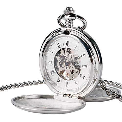 Reloj de Bolsillo mecánico Suave Color Dorado de Lujo Completo Hombres Mujeres Elegante RetroViento de Mano Doble Cazador Plateado