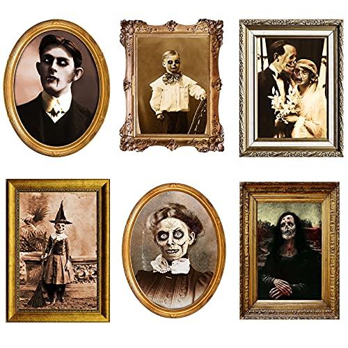 Blulu Imágenes de Terror de Caras Cambiantes en 3D Retrato en Movimiento Imágenes Embrujadas Marco de Imagen de Mesa Decoración de Pared de Miedo de Halloween (Elegante, 6)