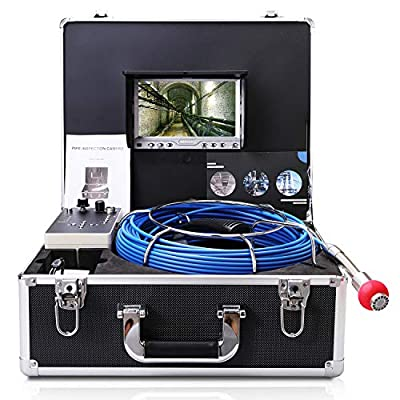 Pipe Camera with Distance Counter and DVR 30M/100FT Cable/Drain Pipe Inspection Camera with 7 Inch LCD Monitor 1000TVL Sony CCD (Free 8GB SD Card)