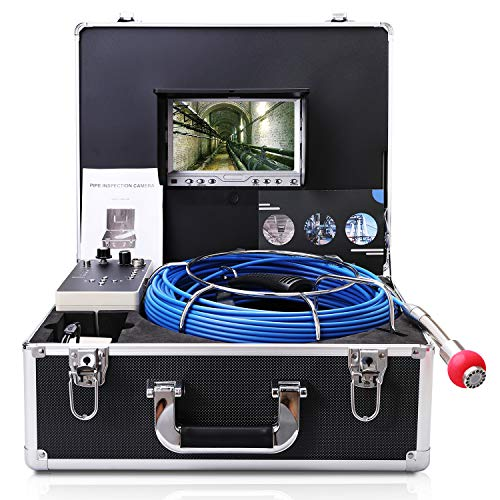 Pipe Camera with Distance Counter and DVR 40M/131FT Cable/Sewer Inspection Camera with 7 Inch LCD Monitor 1000TVL Sony CCD (Free 8GB SD Card)