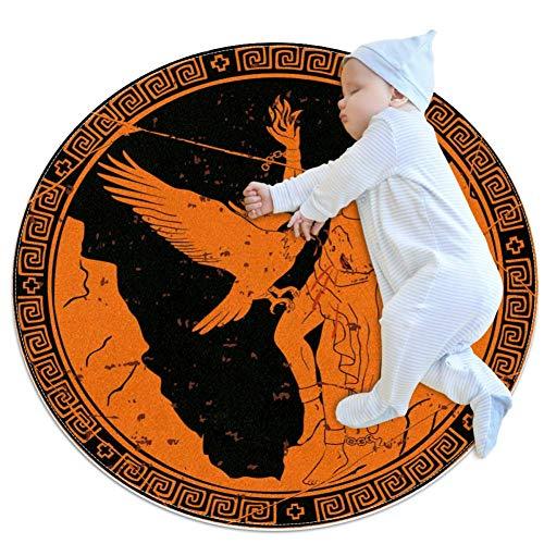 TIZORAX Shaggy-Teppich, antiker griechischer Mann mit Adler, rund, Teppich für Wohnzimmer, Schlafzimmer, Kinderzimmer, Heimdekoration, Polyester, multi, 100x100cm/39.4x39.4IN