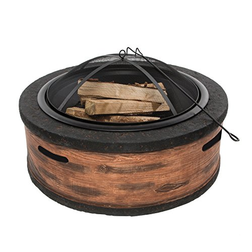 Sale!! Sun Joe SJFP35-RW-STN SJFP Cast Stone Base, Burning Fire Pit w/Dome Screen, Rustic Wood, 35 i...