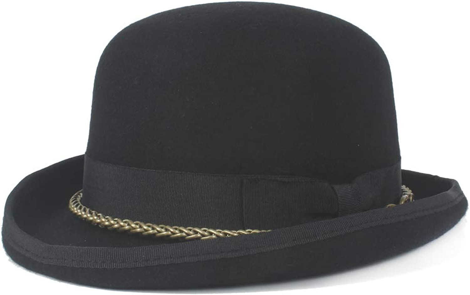 100% Wool Wome Men Unisex Headwear Steampunk Bowler Hat Metal Chain Dome Topper Luxury Fedora Hat Fashion and Awesome
