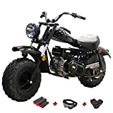 X-PRO Supersized 200CC Youth Mini bike Gas Powered Mini Trail Bike Scooter mini motorcyle,19' Wide Fat Balanced Tires! Big headlight! (Black)