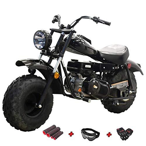 "X-PRO Supersized 200CC Youth Mini bike Gas Powered Mini Trail Bike Scooter mini motorcyle,19"" Wide Fat Balanced Tires! Big headlight! (Black)"