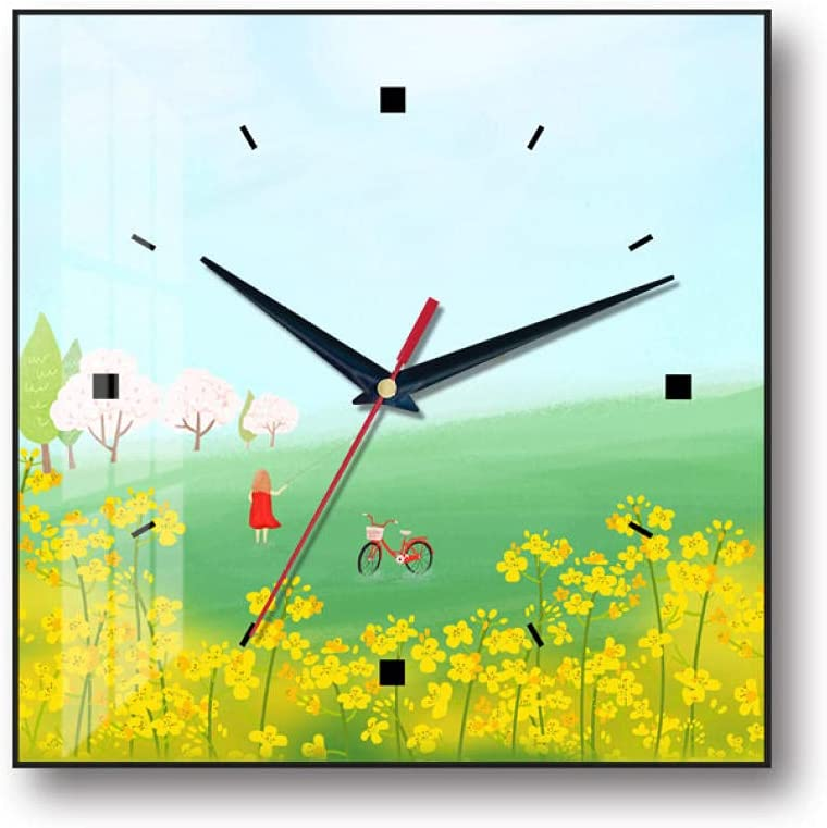 Modern Super sale Crystal Porcelain low-pricing Painting Clock 12 Silent Non-Tick Inch