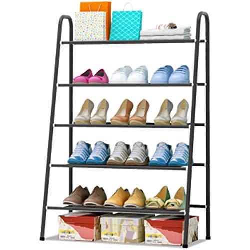 GENFALIN Zapatero Hold soporte mediante electroforesis espesado Tubos robusta ajustable del zapato de almacenamiento en rack de zapato organizador estante de madera zapatero (Color: Negro, Tamaño: 65x