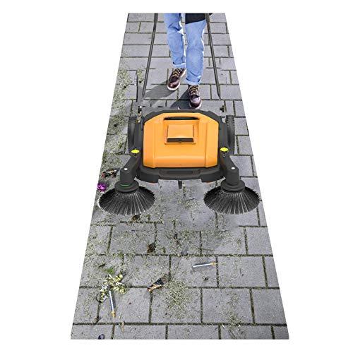 HJGHY Handkehrmaschine Betrieb(Kehrt Trockenes und Nasses Laub,Störungsfreier, Geringes Gewicht,Kehrbreite 920mm,Staubfachkapazität: 40L)