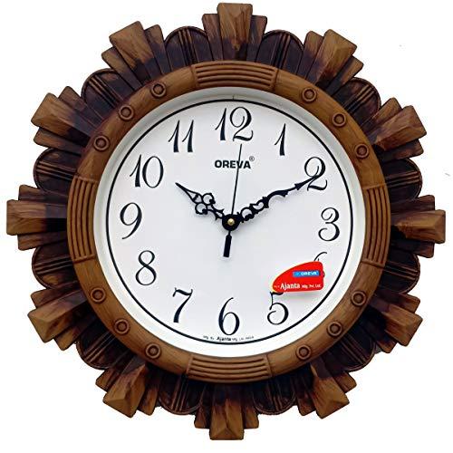 Oreva Plastic Vintage Wall Clock (Brown, 32 x 4 x 32 cm)
