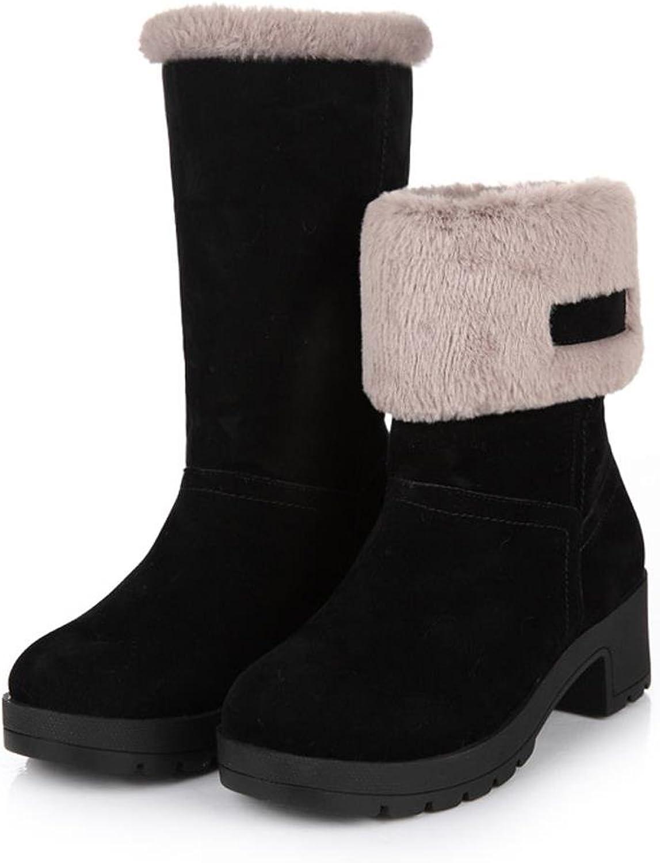 Getmorebeauty Women's Mid Calf Platform Snow Boots Warm Fur Lined Round Toe Chunky Heel Booties