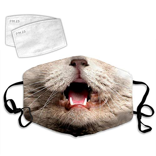SILITHUS Cat Nose and Mouth Dust Face Cover Adjustable Mouth Mask Balaclava Bandanas Washable Reusable with Filter Paper for Kids Teens Men Women