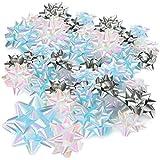 com-four® Lazos de Regalo 48x en Diferentes tamaños y Colores: Lazos confeccionados para Decorar Regalos para Navidad y Bodas (48 Piezas - nácar Gris Azulado)