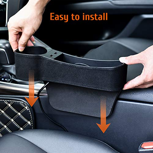 STEPIN Seat Gap Organizer, Seat Gap Filler with Cup Holder, 2 USB Charging, Multifunctional Car Seat Organizer for Cellphones, Keys, Coin,Wallets (2 Pack, Black)