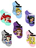 Disney Princess Girls Teen Womens 6 pack Socks (4-6 Toddler (Shoe: 7-10), Princess Names No Show)