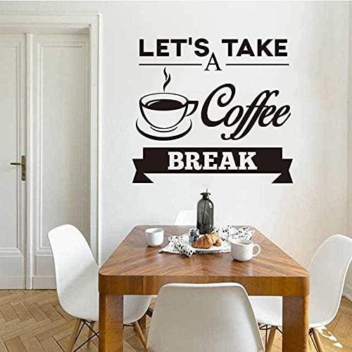Pegatinas de cocina de vinilo adhesivo de pared calcomanías de pared Coffee Break Mural azulejo arte de la pared papel tapiz de cocina decoración del hogar decoración 55x60cm