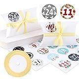 Caja de almohada Caja de regalo, 24 cajas de boda vintage de papel kraft de...