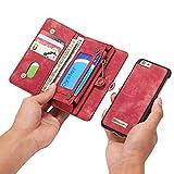 Reemplazo compatible For el caso del iPhone 6, Dos en Uno Multi-funcional caja de cuero hecha a mano de la vendimia con las ranuras de tarjeta de crédito y la cubierta desmontable, de primera calidad