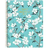 2021 Weekly Appointment Book - 2021 Daily Hourly Planner, 8' x 10', Jan. - Dec. 2021, Weekly Appointment Book with 30-Minute Interval + Thick Paper + Round Corner + Twin-Wire Binding - Teal Floral