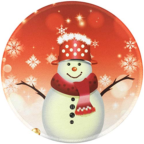 Mouse Pad, Personalized Round Mouse Mat, Small Circular Mouse Pad with Cute Snowman Red Design, Anti-Slip Rubber Mousepad with Stitched Edges, Cute Office Mouse Pad for Girls & Women, 7.87 x 7.87 Inch