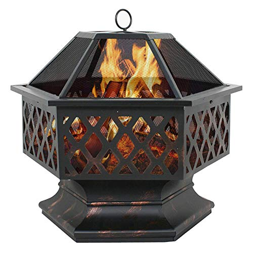 Mgcdd-Car Organizer Outdoor Wrought Iron Stove Fire Pit, 24-Inch Hexagonal Brazier, Firewood Pit, Wood Burning Fireplace, Courtyard Garden, Multi-Function Outdoor Barbecue Pit