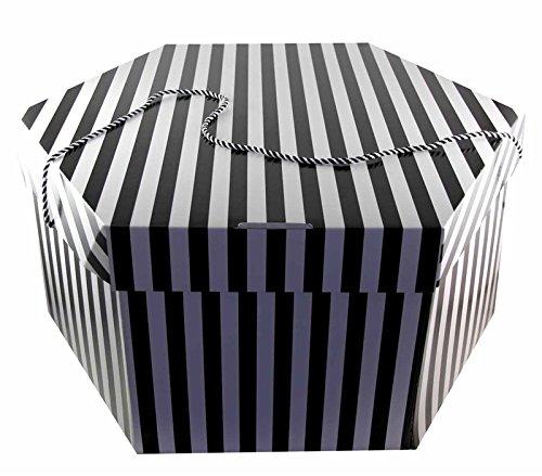 Hairtec. - Caja para sombreros (tamaño grande, 52 x 30cm, con 2 asas), diseño de rayas, color blanco y negro