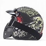 Dgtyui Casco da moto aperto in pelle nera per adulto mezzo casco da moto casco da moto vintage disponibile tutto l'anno, tesa rimovibile - H Nero opaco 1 XM