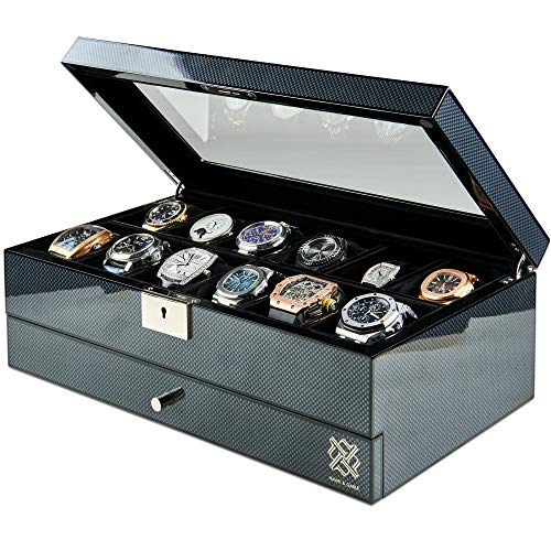 Watch Box Organizer for Men with Valet Drawer - Luxury 12 Slot Watch Case with Glass Display and Lock | Mens Wrist Watches Jewelry Box | Large 15.5 x 5.5 x 8.7 inches, Carbon Fiber Finish