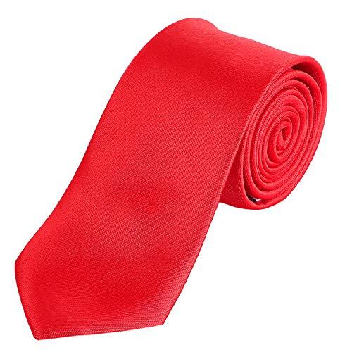 DonDon Herren Krawatte 7 cm klassische handgefertigte Business Krawatte Rot für Büro oder festliche Veranstaltungen