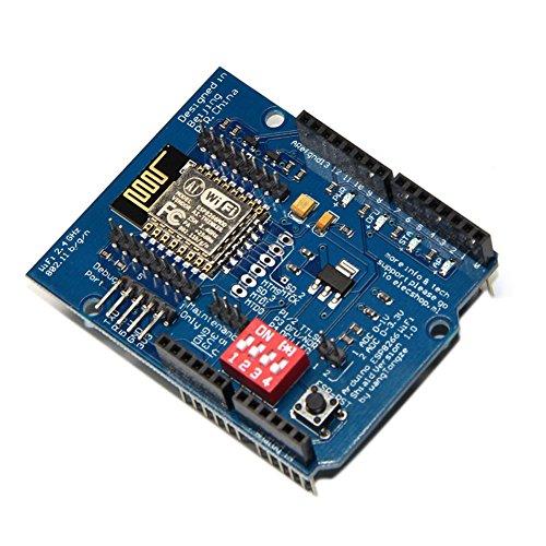 Rokoo ESP8266 UART WiFi Wireless Shield Development Board ESP-12E Schaltungsplatinen Module für Arduino UNO R3