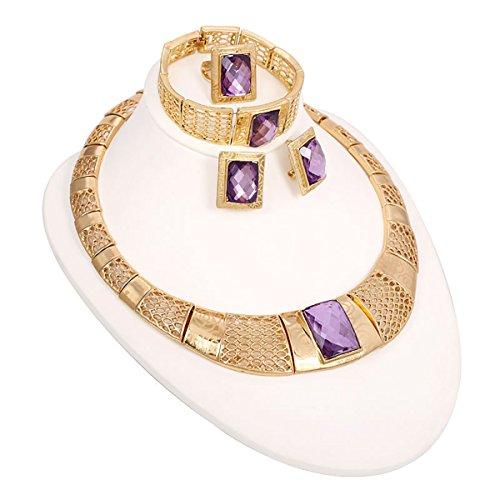 Chapado en oro de canasta de Classy con mecanismo de diamantes de imitación Pulsera pendientes o collares vintage juegos de para joyas