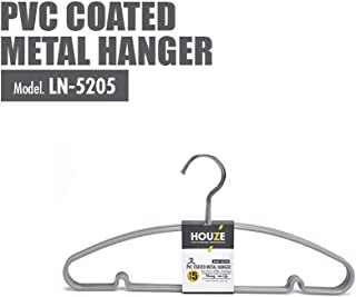 HOUZE LN-5205-GREY PVC Coated Metal Hanger, (Set of 5)