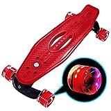JFJ 2020の最新の22インチミニクルーザースケートボード。若い女の子、男の子、初心者向けに設計されています。 点滅できるホイール。 スケートボードのスキルのデザインをすばやく学びます。 誕生日プレゼント (赤)